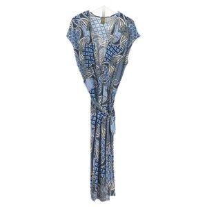 24/7 Comfort Apparel Blue Print Jumpsuit, Large
